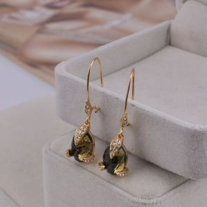 ★Alexis Bittar Olive Crystal Mosaic Gold Earrings★